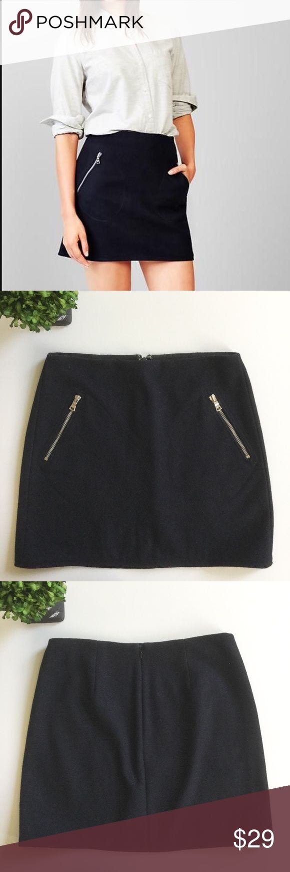 """GAP Black Wool Skirt With Zip Pockets Gently used condition. Essential wardrobe staple this skirt will look great with a multitude of different tops/sweaters. Waist: 14"""". Hips: 18 1/2"""". Length: 16"""". Ask any questions before purchasing. GAP Skirts"""