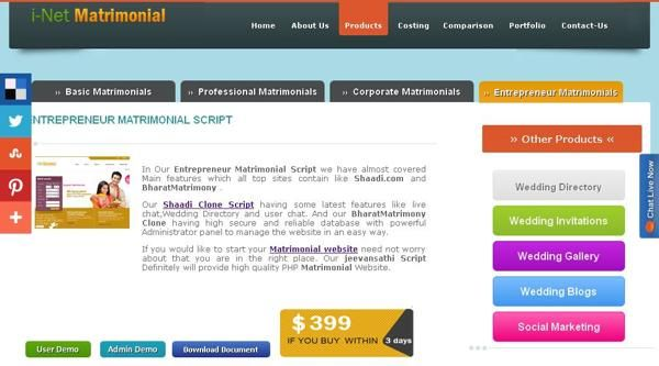 http://www.phpmatrimonialscript.in/entrepreneur-matrimony-script.html  If you are looking for PHP based matrimonial website, then find our script. Our BharatMatrimony script definitely will provide high quality PHP Matrimonial Website. BharatMatrimony Script  have some latest features like live chat, Wedding Directory and user chat. If you would like to start your BharatMatrimony Clone, you need not worry about that, you are in the right place.