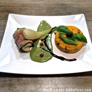 Rôti de cabillaud et sa polenta aux olives sauce épinards