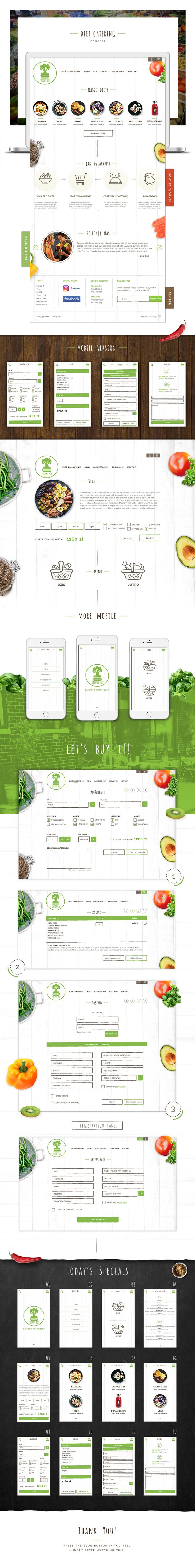 Web design inspiration UI/UX user experience fashion concept  Zdrowy Box- Diet Catering Website Responsive Concept on Behance