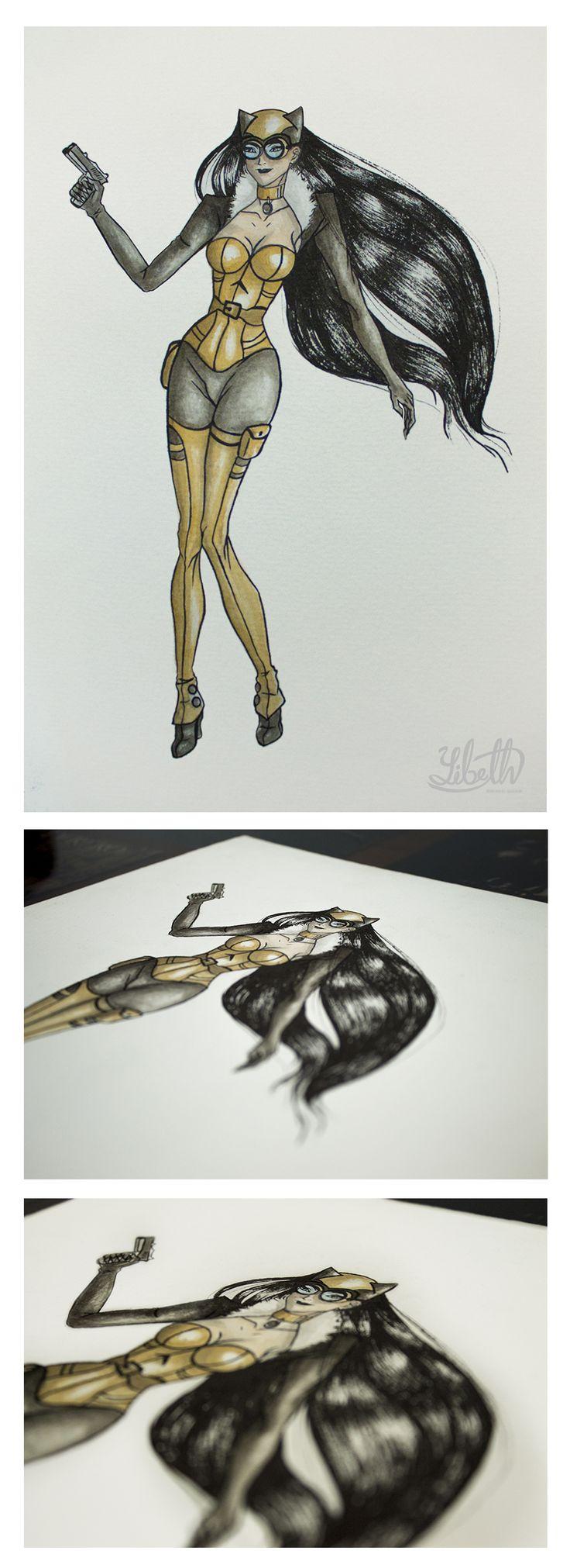 Ilustración Cómic. Diseño personal. Autor: Yibeth Gonzalez Silva. Personaje: CatWoman. Basado en el personaje del cómic Batman. Técnica: Acuarela y Tinta China sobre papel.