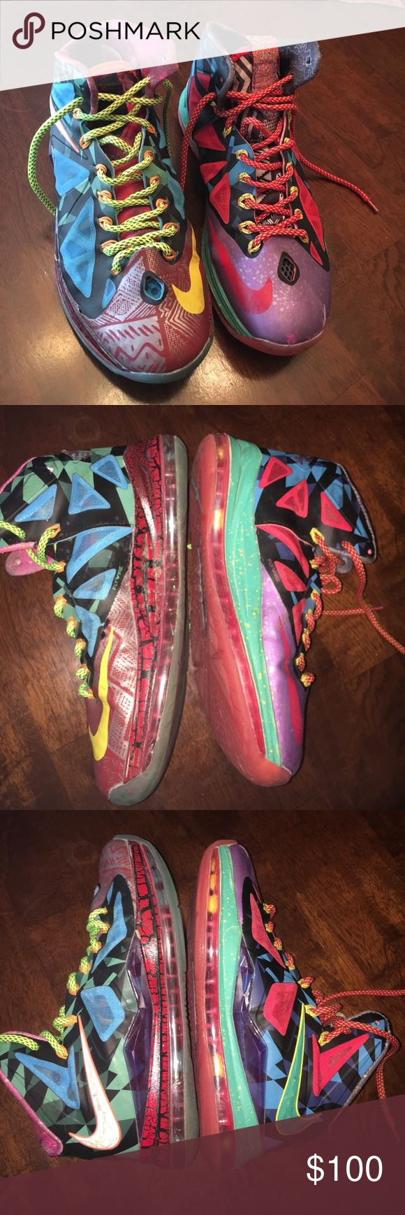 """Lebron James """"what the"""" basketball shoes! 🏀 Absolutely awesome sneakers! Limited edition MVP shoes by Lebron James. A few flaws, missing the gold """"P"""" on tongue yet not noticeable when shoes are tied. Great condition though! Daughter wore for one AAU season. Men's sz 8.5 or women's 9.5-10. Nike Shoes Sneakers"""
