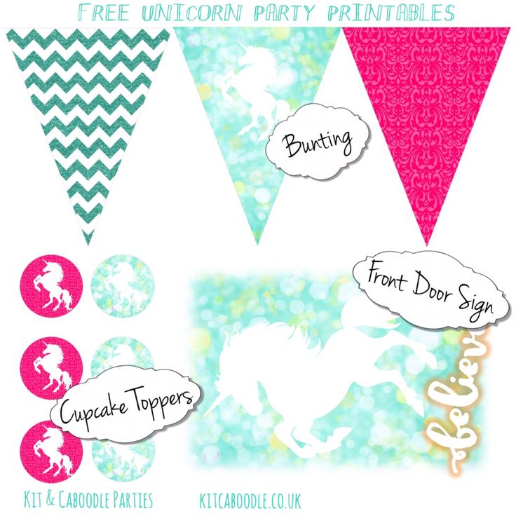 Free Unicorn Party Printables | Kit & Caboodle Parties | Party Decorations | Unicorn Party Ideas | Unicorn Bunting | Unicorn Cupcake Toppers | Unicorn Sign