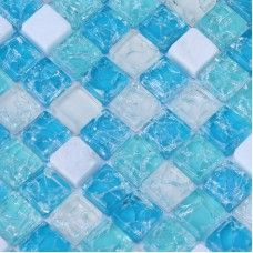 Cream stone and glass tile backsplash for kitchen and bathroom crackle blue sea crystal glass mosaic tiles sheet cheap wall tiles SGY001