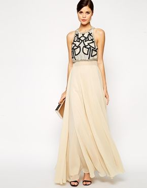 ASOS Embellished Crop Top Maxi WIth Embellishment £95