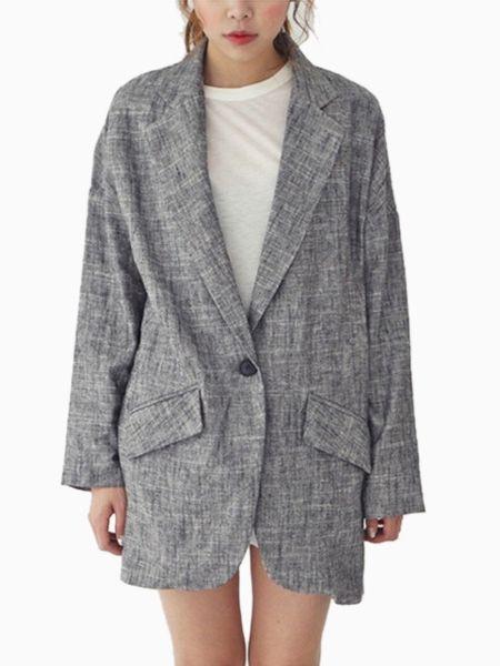 Oversize Linen Blazer - Choies.com