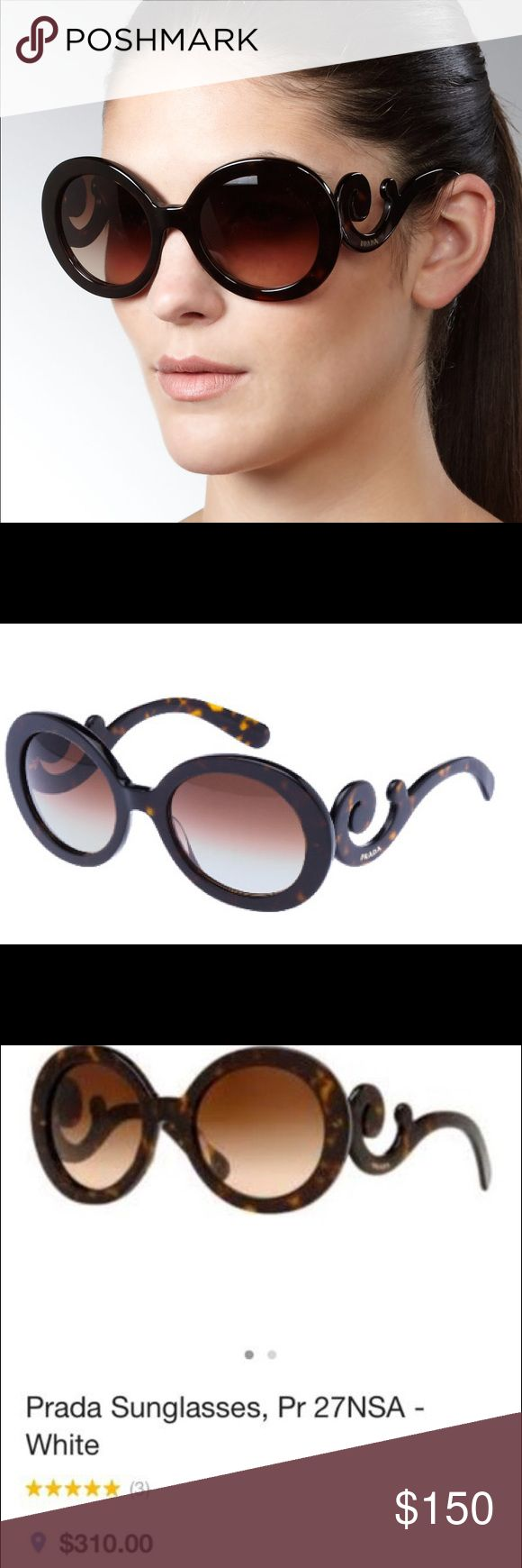 PRADA Baroque sunglasses - tortoise color Super cute and stylish! In perfect condition - paid $400+ at Nordstrom for these, currently selling for $310 at Macy's! No flaws, no scratches, come with care booklet, new Prada cloth cleaner and Prada box, not sunglasses case. Prada Accessories Sunglasses