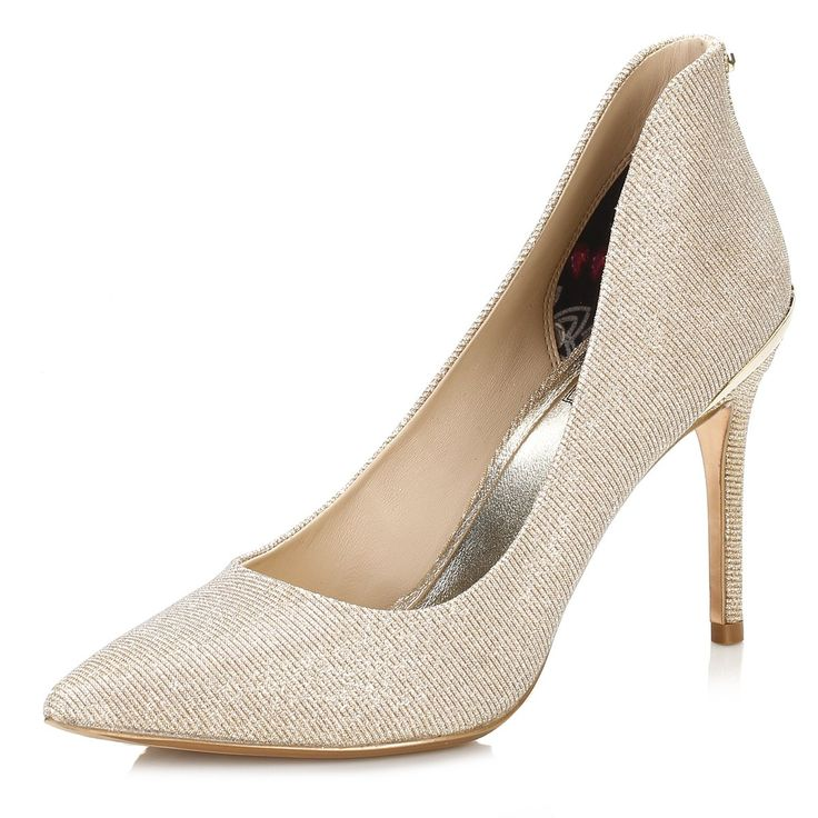 Ted Baker Womens Gold Sparkle Textile Saviy Court Shoes-UK 8. Genuine Product. Authorised Stockist.