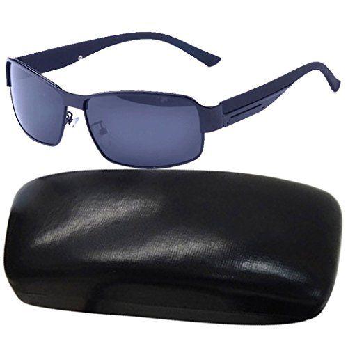 TANGDA Herren Polarisierte Magnesium-Aluminium Rahmen Sport Sonnenbrille UV400 Radfahren Brille Brillenetui Brillenbeutel Herrenbrillen - Schwarzer Rahmen