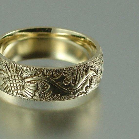 Thistle 14k Gold Band Mens Wedding Ring By Wingedlion On Etsy