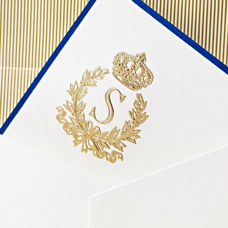 Engraved Enraptured Regalia Hand Bordered Correspondence Card: Subtly elegant details give this pearl white correspondence card just the right amount of flourish. A gold engraved initial surrounded by noblesse and a delicate border, hand painted by our artisans are sure to delight both sender and receiver alike.
