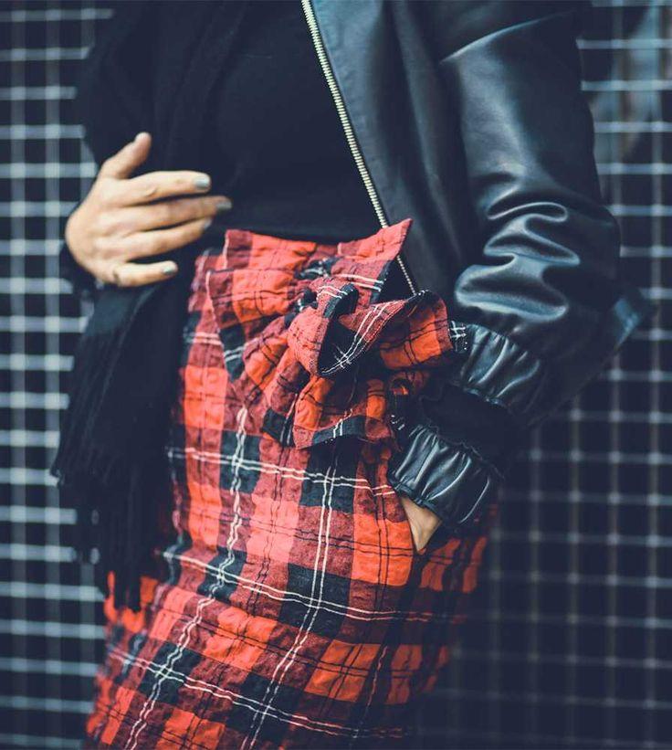 Anne-Marie Curtis - Fashion Director J.W Anderson jacket, Sunspel sweater, Simone Rocha skirt, Acne scarf.