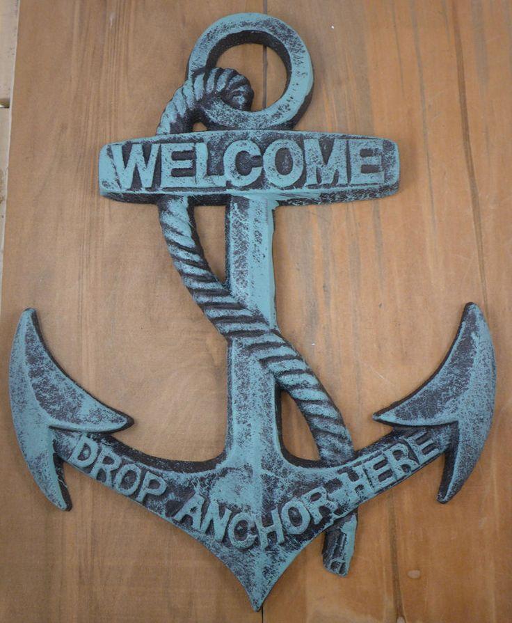 Nautical Cast Iron Ship Anchor Welcome Wall Plaque Ocean Beach Decor Large