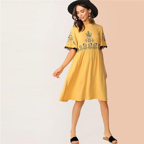 Floral embroidered pompom detail textured midi dress women casual short sleeve summer dress high waist yellow dress