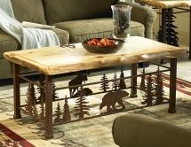 Bear and Moose Coffee Table with hand-hewn wooden top