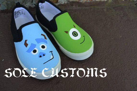 Boutique Custom Hand Painted Disney Pixar Inspired Mike And Sulley Monsters Inc WITHOUT Name Gym Skater Slip-On Toddler Shoes