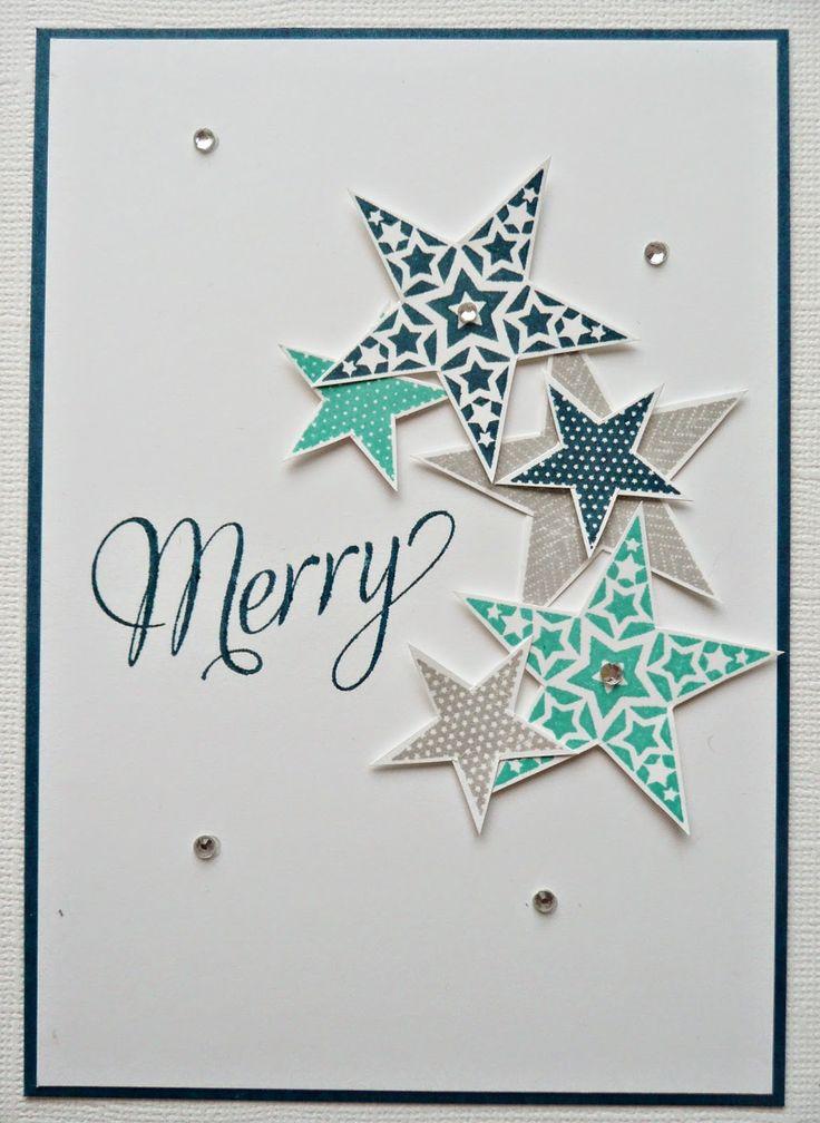 Love the random stars - cute & simple Xmas card crea10us: Congratulations en kerstkaart 31................