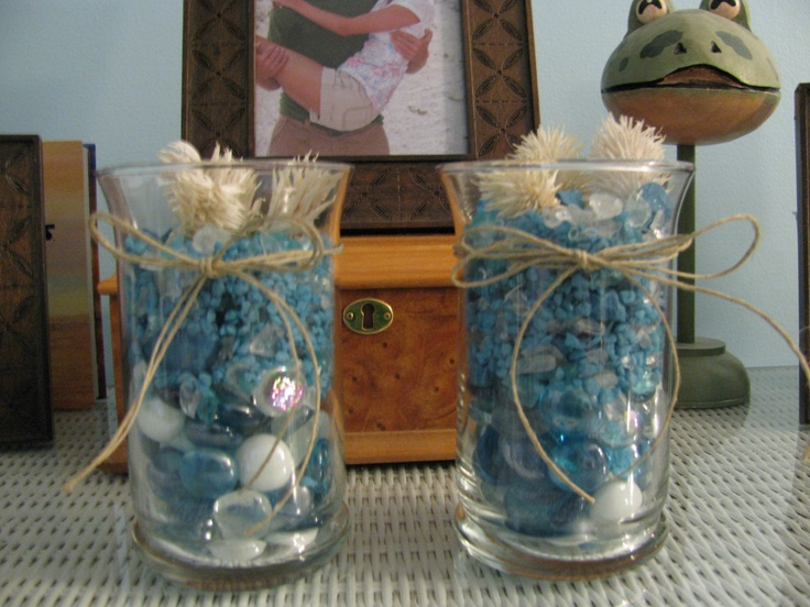 My New Decor Idea 1 Dollar Glass Vase Filled With Blue