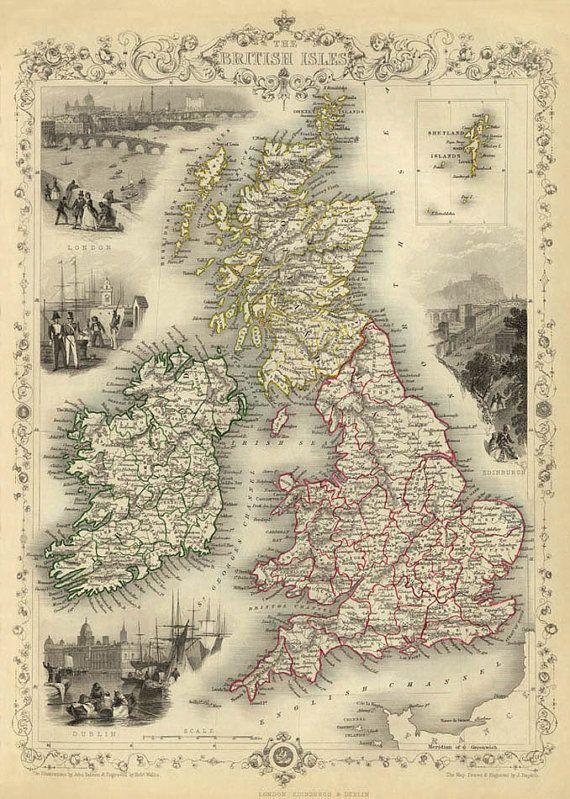 Vintage map of British Isles Print 16 x 22 by AncientShades, $30.00