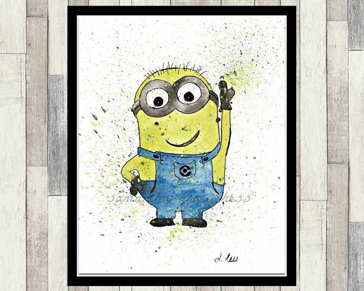 Minion Despicable Me Original Watercolor Painting by SamanthaGraceArt on Etsy https://www.etsy.com/ca/listing/509575272/minion-despicable-me-original-watercolor