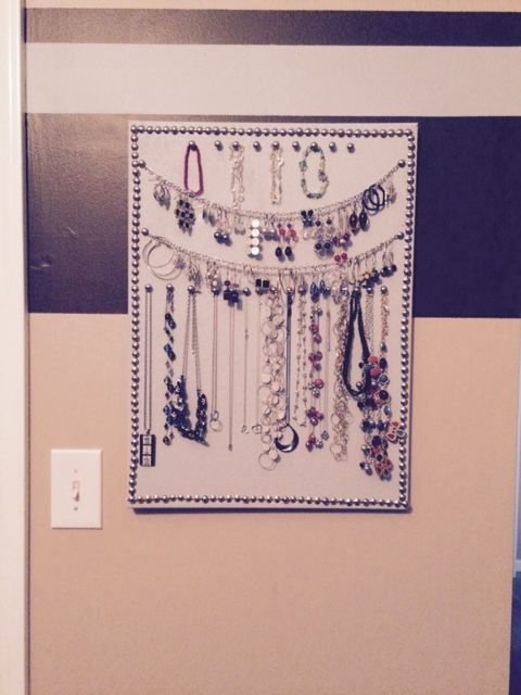 Jewelry organizer - painted cork board with nickel pushpins and chain to hang earring.