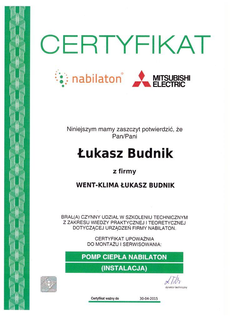 Certyfikat ze szkolenia, Mitsubishi - pompy ciepła