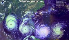 Hurricane Andrew August 24th.1992, I was down South in Louisiana when Andrew made Landfall there a lot of Damage there as well