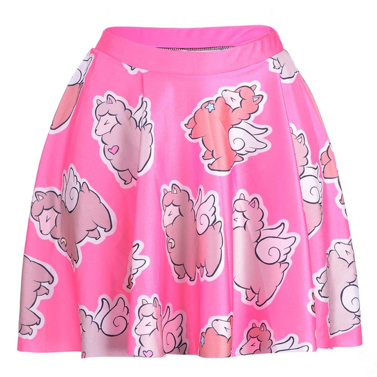 D294  Cute Flying Ovis Aries Sweet Pink Mid-Waist Elastic Pleated Skirts S-Xxxxl