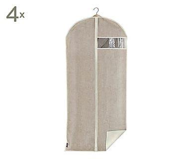 Set van 4 kledinghoezen met hanger Rayan, beige, 60x135x2 cm