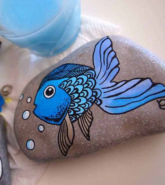 Hand painted beach pebble paperweight stone interior by byMIAmade