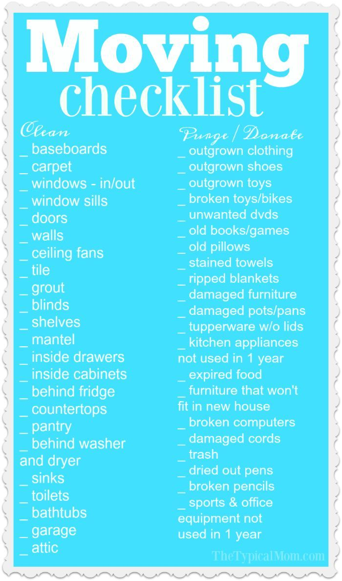 This printable moving checklist is a huge help when you need to clean and purge your old house! Plus moving tips and tricks to make your transition easier. AD via @thetypicalmom