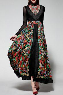 Embroidery Stand Collar See-Through Floral Print Maxi Dress