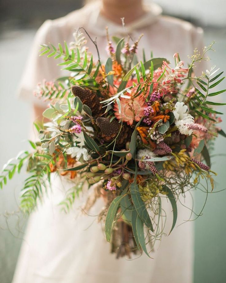 """Nouba on Instagram: """"~ From the archives ~ Lauren & Steve's forest-meets-the-sea wedding was a serene, earthy affair, perfectly reflected in their choice of native blooms by @merringracefloraldesign. Gorgeous pics by @beardeerfox"""""""