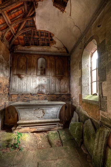 A small abandoned chapel in France.