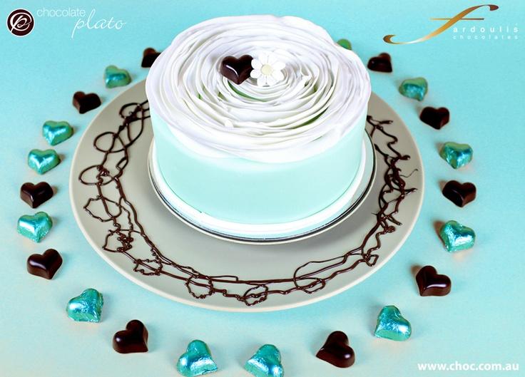 Wedding cake and chocolate heart foils www.choc.com.au