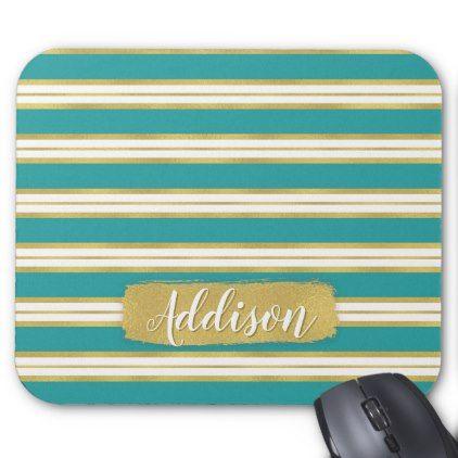 Aqua Blue Gold Stripe Pattern Custom Name Mouse Pad - pattern sample design template diy cyo customize