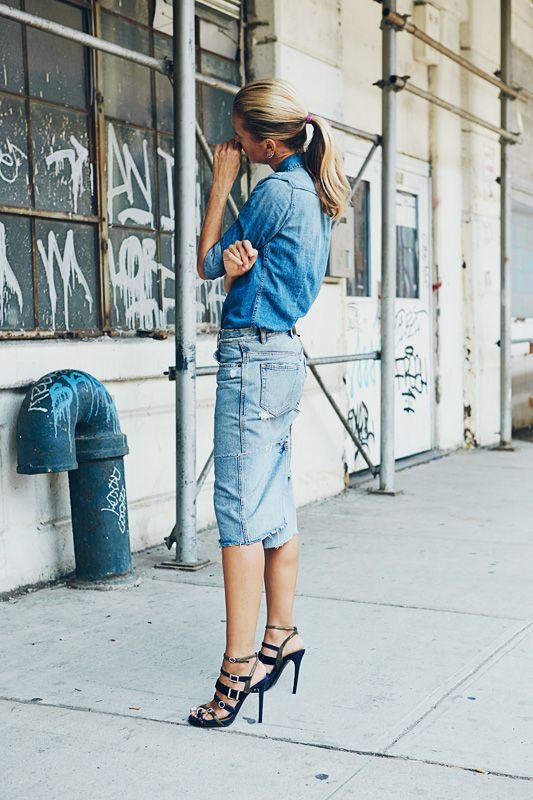Shop this look for $114:  http://lookastic.com/women/looks/blue-denim-shirt-and-light-blue-denim-pencil-skirt-and-navy-gladiator-sandals/2143  — Blue Denim Shirt  — Light Blue Denim Pencil Skirt  — Navy Gladiator Sandals