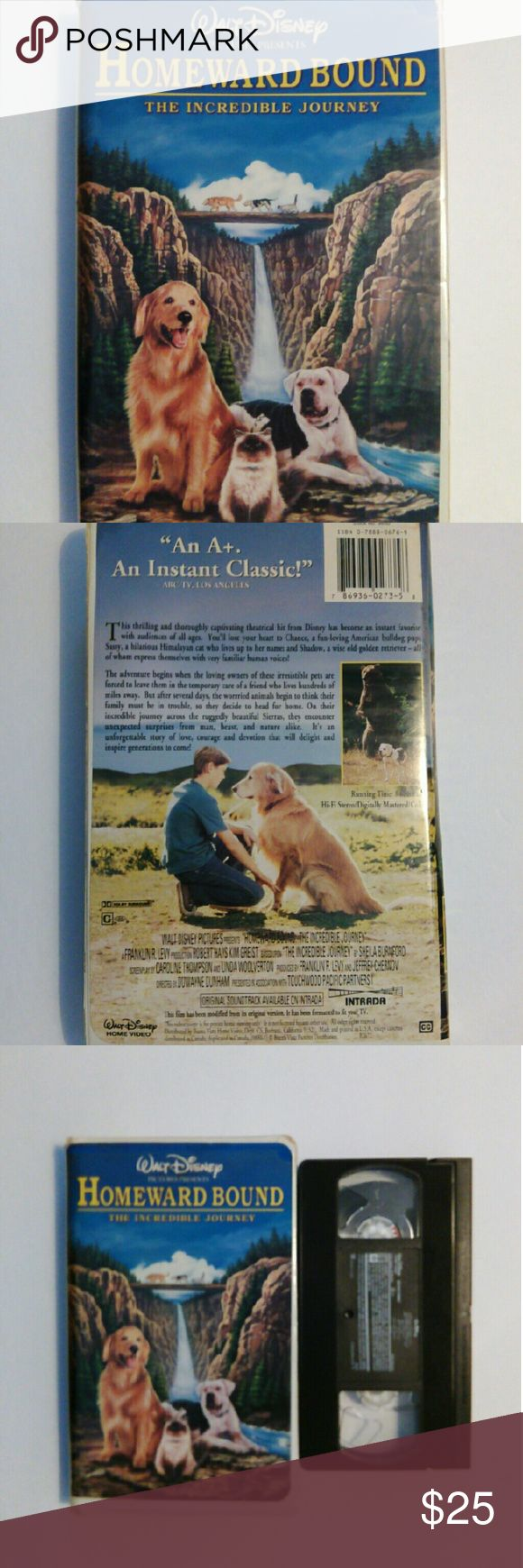 Disney Homeward Bound Vhs Thisvis a fantastic collector's item for the Disney lover. Has been cleaned, tested and rewound. Plays great from beginning to end. Other