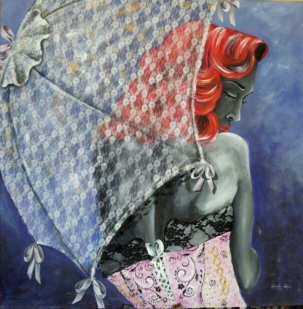 """""""La rossa"""" 80x80 tecnica mista personale"""