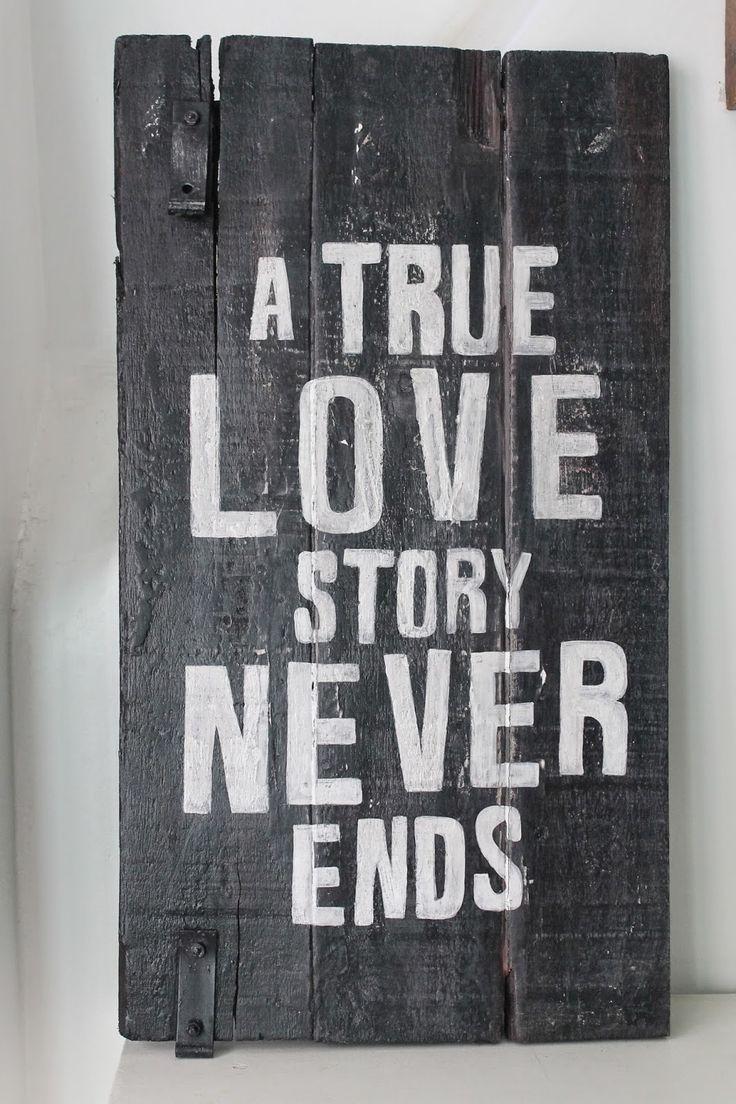 Cuadros vintage con frase: Deco Marce Tienda /una verdadera historia de amor nunca termina
