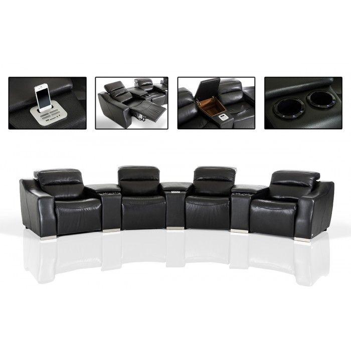 divani casa salem modern black ecoleather recliner sectional sofa with audio system