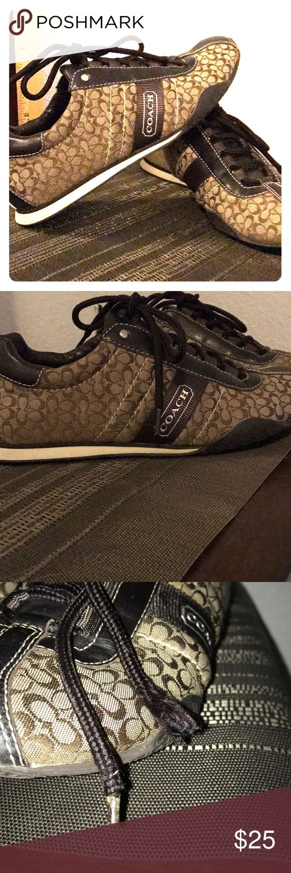 Brown Coach tennis shoes. Brown Coach tennis shoes. Lightly used fabric is in good condition. Needs a new shoelace on left shoe. Coach Shoes Sneakers