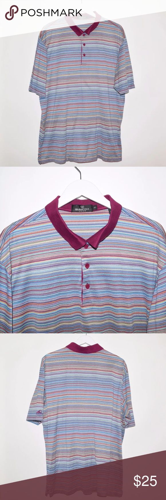 Rare Bugatchi Uomo Mens Egyptian Cotton Polo Shirt Brand: Bugatchi Uomo Item name: Men's Striped Mercerized Egyptian CottonPolo Shirt w/ custom Shadow Ridge embroidery on right sleeve.   Color: Multi-Color Condition: This is a pre-owned item. This item is in excellent used condition with no stains, rips, holes, etc. Comes from a smoke free home. Size: 2XL Measurements: Pit to Pit - 25 inches Shoulder to base - 29.5 inches Bugatchi Shirts Polos