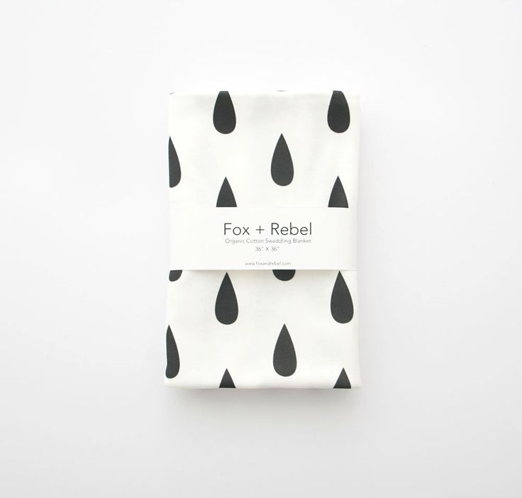 Organic Cotton Baby Blanket Modern Black and White Raindrops - READY TO SHIP (45.00 CAD) by FoxAndRebel