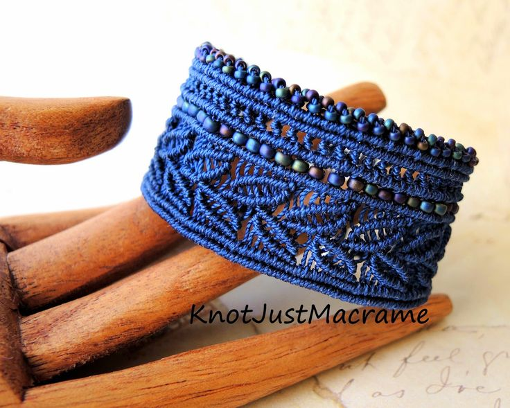 Leafy cuff knotted in micro macrame original design by Sherri Stokey of Knot Just Macrame.