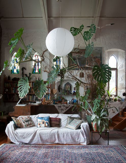 This room is SO DREAMY!! Look at the philodendron in the back. <3