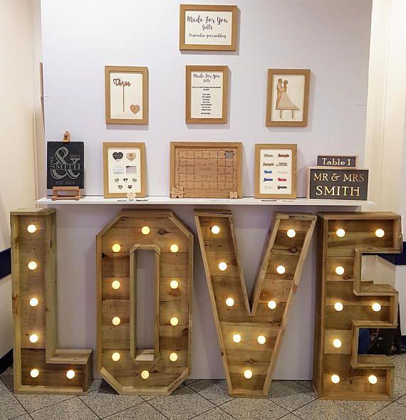 Wooden Wedding Love Letters 3ft 4ft 6ft Etsy Large Wooden Letters Light Letters Diy Large Light Up Letters