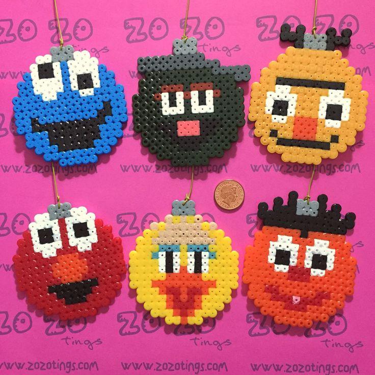 Sesame Street Christmas bauble set Hama perler beads by Zo Zo Tings
