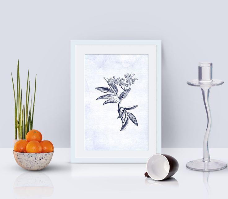 elder leaf and flower print