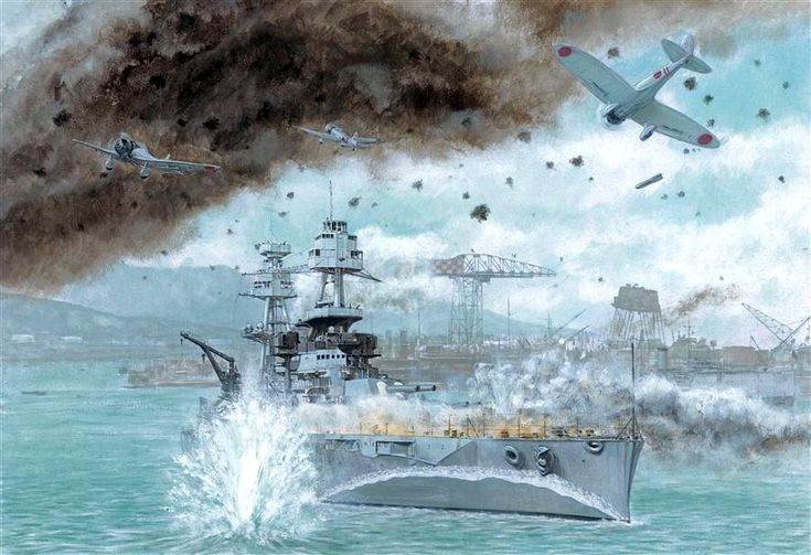Nueva imagen del USS Nevada en su vano intento de escapar de la rada de Pearl Harbor. Más en www.elgrancapitan.org/foro